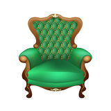 Chair. Beautiful chair with a beautiful upholstered in green on a white background, antiques Stock Images