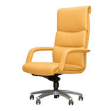 Chair from beige leather. Isolated Stock Photography