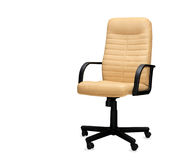 Chair from beige leather. Isolated Royalty Free Stock Photo