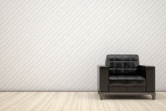 Chair in black leather. Lonely chair in black leather Royalty Free Stock Photography