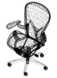 Chair blueprint – 3D perspective Royalty Free Stock Photo