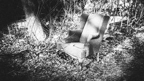 Chair in Boston on front yard in winter Stock Photo