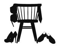 Chair and bra in silhouette. Chair in silhouette with bra hanging off it Stock Photos