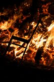 Chair burning in Guy Fawkes Night bonfire Royalty Free Stock Photos
