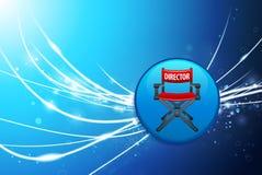 Chair Button主任在蓝色抽象轻的背景的 免版税库存照片