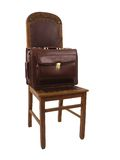 Chair and case - 2. Wooden chair and the leather suitcase (2 Royalty Free Stock Photos