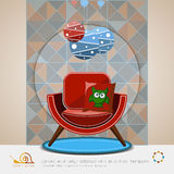 Chair with chandelier retro. Vector logo. Royalty Free Stock Photos