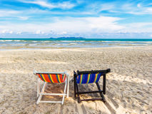 Chair at clean beach Royalty Free Stock Photo