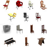 Chair Collection. 3D rendering of various chairs isolated on white Royalty Free Stock Images