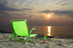 Chair on colorful sunset Stock Image