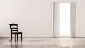 A chair on concrete polished floor with white wall and isolated window, 3d rendered Royalty Free Stock Photo