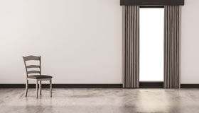 A chair on concrete polished floor with white wall and isolated window, 3d rendered Stock Photography