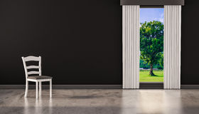 A chair on concrete polished floor with window and a tree natural view on black wall, 3d rendered Stock Images