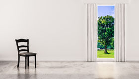 A chair on concrete polished floor with window and a tree natural view on white wall, 3d rendered Royalty Free Stock Images