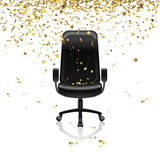 Chair with confetti. Career success, office chair and confetti Stock Images