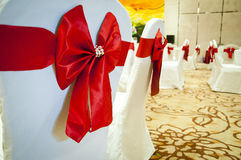 CHAIR COVER WITH RED BOW Stock Image
