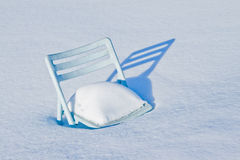 Chair covered in snow Stock Photography