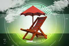Chair covered by umbrella Royalty Free Stock Photography