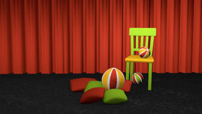 Chair with cushions and balls. Decoratively placed on carpet floor in front of a curtain. 3d rendering vector illustration