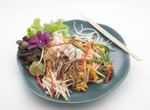 Chair de crabe avec le champignon, la nouille et l'oeuf Photographie stock