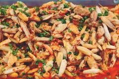 Chair de crabe frite avec le piment frais, nourriture thaïlandaise images libres de droits