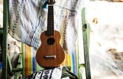 Chair, Deck, Guitar Stock Photo