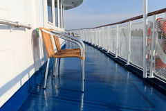 Chair on a deck of ship Stock Images