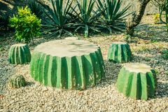Chair decoration made from cement block looks like a cactus green - photo royalty free stock photo