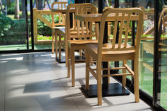 Chair and Desk, Table set on the Coffee shop. Stock Photos
