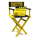 Chair director and  movie clapper. On white background Stock Images
