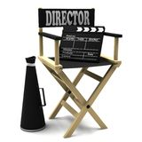 Chair director, movie clapper and megaphone Royalty Free Stock Images
