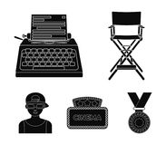 Chair of the director, typewriter, cinematographic signboard, film-man. Films and cinema set collection icons in black. Style vector symbol stock illustration Stock Photo