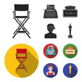 Chair of the director, typewriter, cinematographic signboard, film-man. Films and cinema set collection icons in black. Flat style vector symbol stock Stock Image