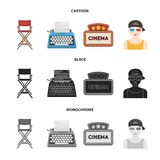 Chair of the director, typewriter, cinematographic signboard, film-man. Films and cinema set collection icons in cartoon. Black,monochrome style vector symbol Stock Image
