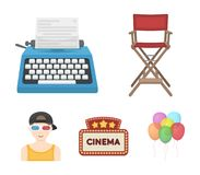 Chair of the director, typewriter, cinematographic signboard, film-man. Films and cinema set collection icons in cartoon. Style vector symbol stock illustration Royalty Free Stock Photo