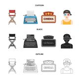 Chair of the director, typewriter, cinematographic signboard, film-man. Films and cinema set collection icons in cartoon. Black,outline style vector symbol Stock Images