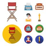 Chair of the director, typewriter, cinematographic signboard, film-man. Films and cinema set collection icons in cartoon. Flat style vector symbol stock Stock Photo