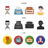 Chair of the director, typewriter, cinematographic signboard, film-man. Films and cinema set collection icons in cartoon. Black,flat style vector symbol stock Stock Photos