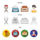 Chair of the director, typewriter, cinematographic signboard, film-man. Films and cinema set collection icons in cartoon. Outline,flat style vector symbol stock Royalty Free Stock Images