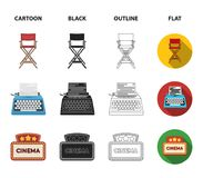 Chair of the director, typewriter, cinematographic signboard, film-man. Films and cinema set collection icons in cartoon. Black,outline,flat style vector symbol Stock Images
