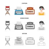 Chair of the director, typewriter, cinematographic signboard, film-man. Films and cinema set collection icons in cartoon. Outline,monochrome style vector symbol Royalty Free Stock Photos