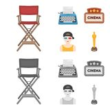 Chair of the director, typewriter, cinematographic signboard, film-man. Films and cinema set collection icons in cartoon. Monochrome style vector symbol stock Stock Image