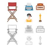 Chair of the director, typewriter, cinematographic signboard, film-man. Films and cinema set collection icons in cartoon. Outline style vector symbol stock Royalty Free Stock Photos
