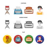 Chair of the director, typewriter, cinematographic signboard, film-man. Films and cinema set collection icons in cartoon. Flat,monochrome style vector symbol Stock Image