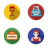 Chair of the director, typewriter, cinematographic signboard, film-man. Films and cinema set collection icons in flat Royalty Free Stock Image