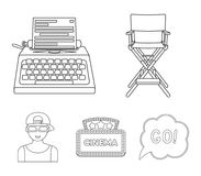 Chair of the director, typewriter, cinematographic signboard, film-man. Films and cinema set collection icons in outline. Style vector symbol stock illustration Stock Photos