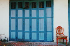 A  chair and door in vintage. Royalty Free Stock Photo
