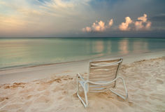 Chair on Eagle Beach in Aruba Royalty Free Stock Photo