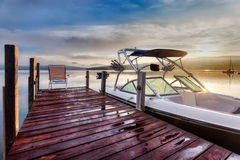 Chair at the end of the dock Stock Photography