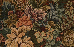 Chair fabric. Floral fabric design on a chair royalty free stock photo